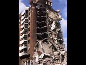 Many of the buildings in Sarajevo had been destroyed by the recent war.