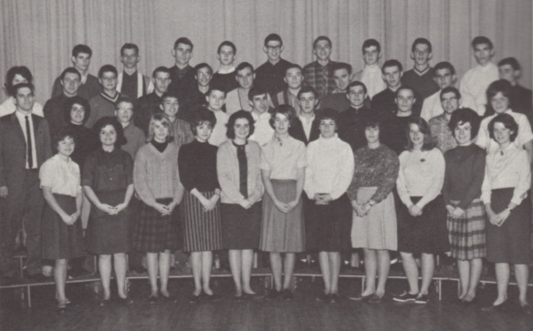 My grade 12 class in 1963. I am in the top right with the V-neck sweater.  Over the years, my head has grown into my ears.   At the far right in the first row is Lorna Harris . Lorna and I are still great friends after these 50 years, corresponding regularly by Facebook and email.  An enduring friendship. Could we ever imagine what the next 50 years would bring?