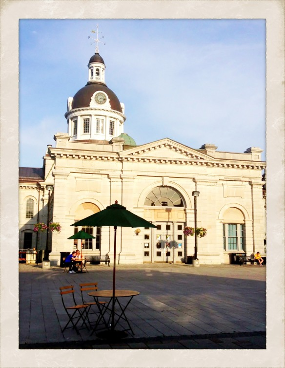 Behind City Hall. I grabbed a coffee from Starbucks and sat at this table for a while just soaking up Kingston.