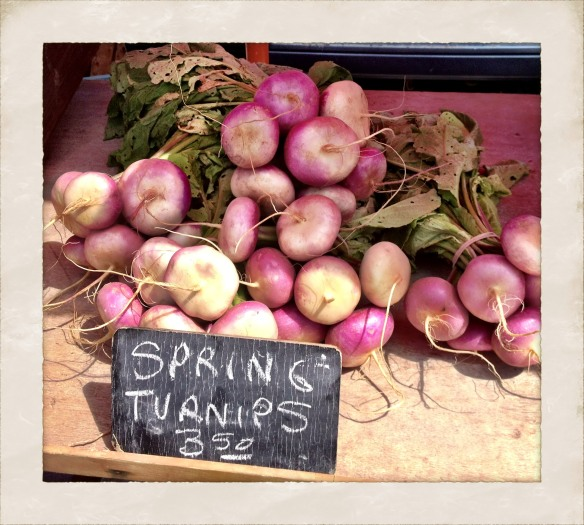 Spring Turnips at a stall on the Kingston market.