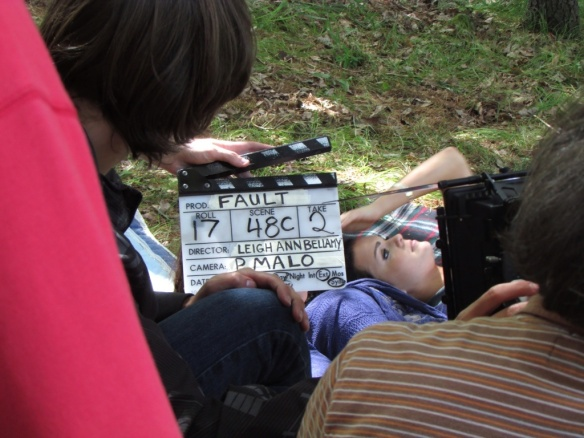 Christian Paulo Malo (DP) and Alex Daniels prepare a close up take for the movie FAULT, directed by Leigh Ann Bellamy.