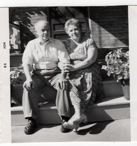 My grandparents Vardon as I remember them on the porch of their house at 504 Grosvenor St.  1958