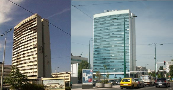 A government office building in 1999 and after reconstruction in 2009.