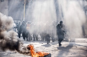 Scenes of protests against the government in Bosnia last week . They took a violent turn.