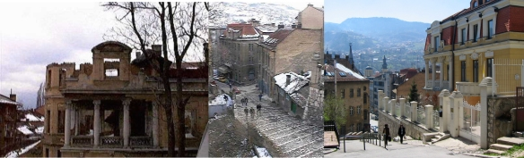 In March '98 I stayed in an apartment near the centre of Sarajevo. There were bullet holes in the wood floor and on the walls. The view out the street was of a hill, most buildings damaged.  By 2008, these had been restored.
