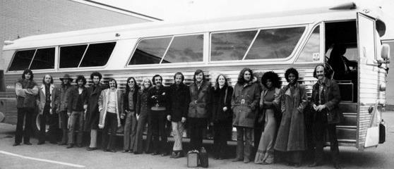 Photo of the Dr Music band heading off on a cross Canada tour in 1972.  Supplied by Bruce Cassidy, one of the members of the band.