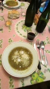 Lunch à la Gloria.  Minestrone with Parmesan, Crusts of Italian Bread and some home-made red wine.