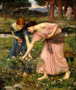 "The 1909 John Williams Waterhouse painting, ""Gather ye rosebuds while ye may"""