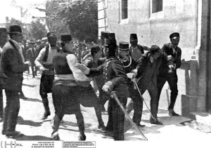 Gavrilo Princip is arrested shortly after shooting Ferdinand and Sophie in Sarajevo on June 28, 1914.