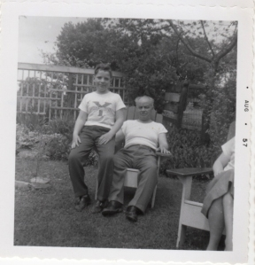 With Grandpa Vardon (often in his undershirt) in the Grosvenor Street yard in 1957. The infamous fire pit was off to the left.