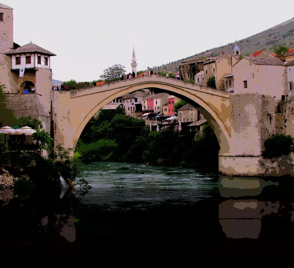 The old bridge - Stari most - from which Mostar gets its name.