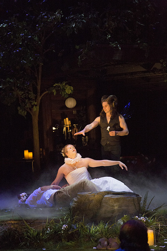 Stephen Ouimette (left) as Bottom, Evan Buliung as Titania and Jonathan Goad as Oberon in A Midsummer Night's Dream.  In the same afternoon these three were in King Lear playing the Fool, Edgar and Kent.  Photo by Erin Samuell. (Stratford Festival website)