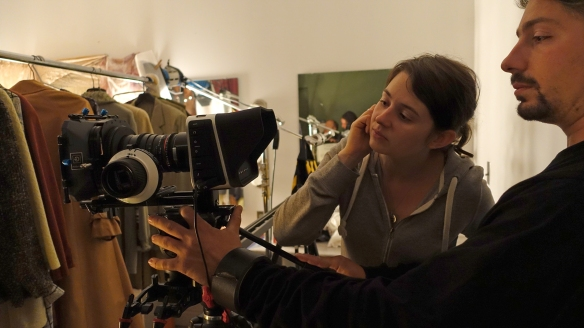 Leigh Ann Bellamy and Director of Photography, Christian Paulo Malo, contemplate a camera angle.