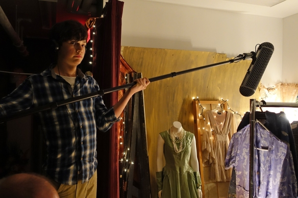 Daniel Karan is boom operator. Sound is captured with lavaliere microphones hidden in the actor's costume and an overhead boom.