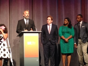 Kevin Costner,  director Mike Binder and Octavia Spencer at the world première screening of Black and White.