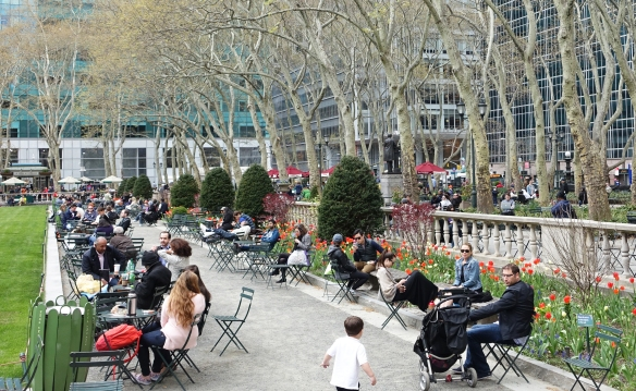 Enjoying the late afternoon sun in Bryant Park.