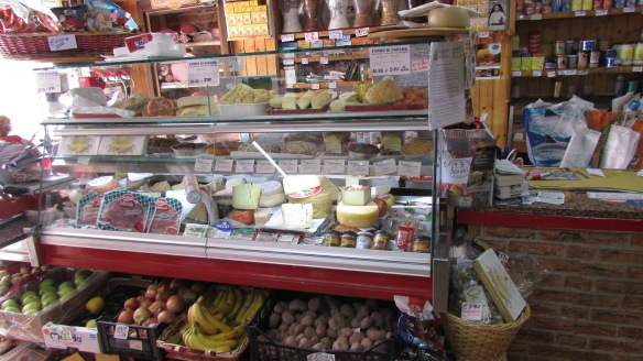 Shopping for Parmesan at the San Michele grocer.