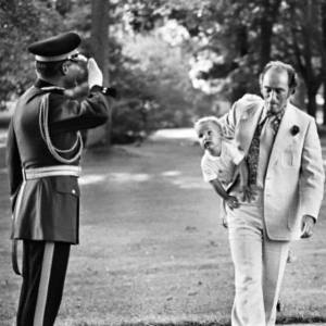 Canadian Prime Minister Pierre Trudeau carries a young Justin into 24 Sussex, where he will soon end up again as our Prime Minister. How cool is that?