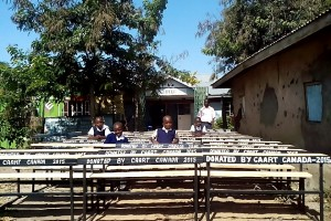 Some of the desks being locally made for the Hope School in Mbita, Kenya.