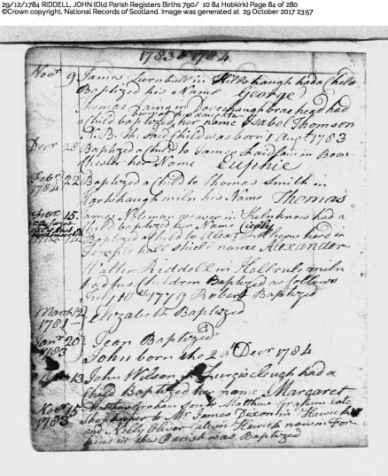 John Riddell Baptismal record